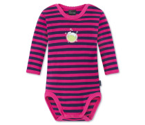 Babybody langarm Feinripp pink-dunkelblau geringelt - Hokuspokus
