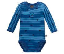 Babybody langarm Feinripp blau bedruckt - Capt'n Sharky