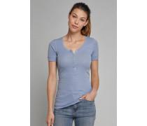 Shirt kurzarm mit Knopfleiste jeansblau - Selected! Premium