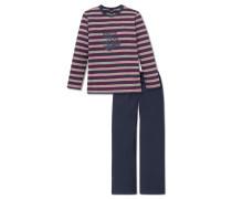 Schlafanzug lang mehrfarbig geringelt - Live & drive fast