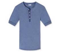 Shirt kurzarm mit Knopfleiste indigo meliert - Revival Karl-Heinz