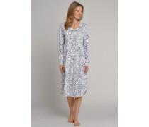 Nachthemd langarm Jersey silber-weiß - Rhapsody für Damen