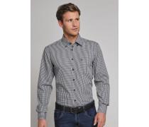 Hemd langarm bügelfrei Button-Down-Kragen blau-weiß kariert - REGULAR-FIT für Herren