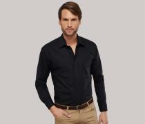 Schiesser schwarzes Oberhemd in Comfort-Fit-Schnittform für Herren