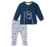 Babyanzug 2-teilig Interlock dunkelblau bedruckt - Eisbär & Co.
