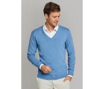 Strickpullover V-Ausschnitt Slub Yarn blau - Selected! Premium für Herren