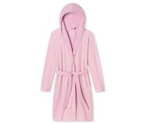 Bademantel mit Kapuze Leichtftee pink geringelt