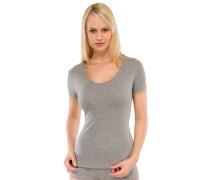 Shirt kurzarm Feinripp grau meliert - Naturschönheit