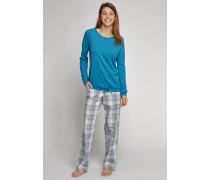 Shirt langarm Cotton-Modal atlantik-blau - Mix & Relax