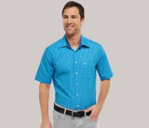 Schiesser Oberhemd KENT-Kragen kurzarm grün-blau kariert REGULAR FIT für Herren