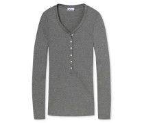 Shirt langarm Feinripp grau meliert - Revival Lena