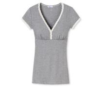 Shirt kurzarm Feinripp-Ajourée grau geringelt - Revival Agathe