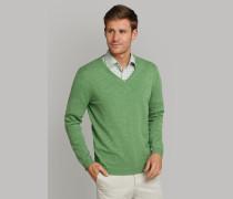 Strickpullover V-Ausschnitt Slub Yarn grün - Selected! Premium für Herren