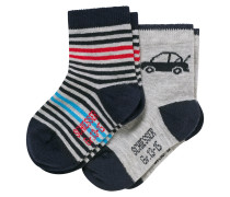 Babysocken 2er-Pack Autos Ringel blau/grau - Cotton Fit