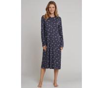Nachthemd langarm Interlock Blumen Knopfleiste graphit-grau - Rhapsody für Damen