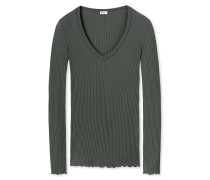 Shirt langarm feine Modal-Rippe aus Zwirn V-Ausschnitt braungrau - Revival Helena