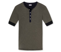Shirt kurzarm mit Knopfleiste khaki geringelt - Revival Karl-Heinz
