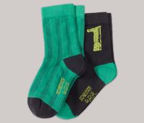 Jungensocken 2er-Pack grün/anthrazit - Fußball für Jungen