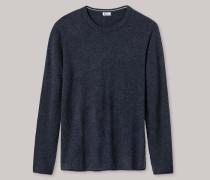 Pullover Strick Wolle-Kaschmir rundhals blau meliert - Revival Julius für Herren