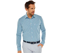 Hemd langarm Button-Down-Kragen grau-blau kariert - REGULAR FIT
