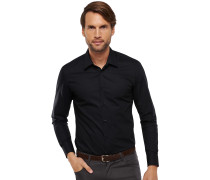 schwarzes, tailliertes Businesshemd mit Kentkragen