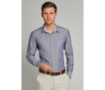 Schiesser Hemd langarm Kent-Kragen blau gemustert - SLIM FIT für Herren