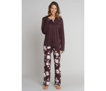 Pyjama lang Interlock Knopfleiste Kraniche Blumen dunkelbraun - Sweet Darkness für Damen