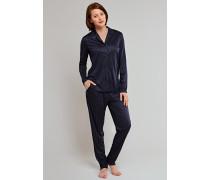 Pyjama lang Interlock blauschwarz mit Nadelstreifen - new nautical pin stripes