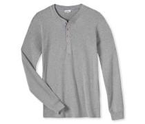 Shirt langarm Feinripp grau meliert - Revival Karl-Heinz