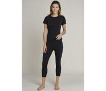 Schiesser Shirt kurzarm Funktionswäsche warm schwarz-pink - Sport Thermo Light für Damen