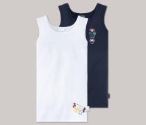 Schiesser Unterhemden dunkelblau/ weiß bedruckt - Longboard Henry für Jungen