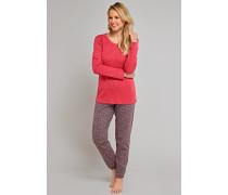 Schlafanzug lang Interlock mit Spitze rot - red berries & sandalwood