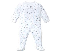 Babyanzug lang mit Fuß und Reißverschluss weiß bedruckt - Sommerbrise