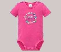 Schiesser Babybody kurzarm pink bedruckt - Tropical Bird für Mädchen