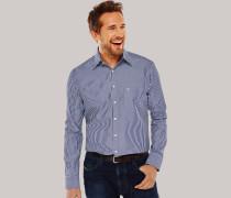 Hemd langarm Kent-Kragen blau-weiß gestreift - REGULAR FIT für Herren