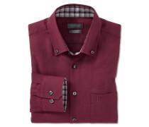 Hemd langarm Flanell bügelfrei Button-Down-Kragen burgund-rot - REGULAR FIT