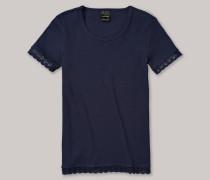 Shirt kurzarm mit Spitze Doppelripp nachtblau - Long Life Cotton für Mädchen