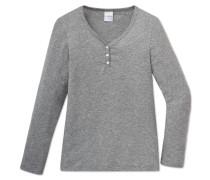 Shirt langarm Feinripp grau meliert - Soft Cotton