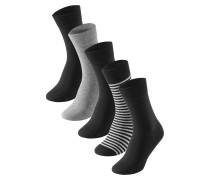 Herrensocken 5er-Pack stay fresh schwarz-grau