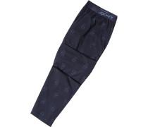 Herren Pyjama Baumwoll-Mix dunkelblau-rauchblau gemustert