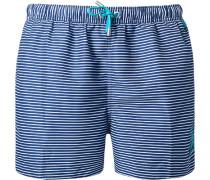 Herren Bade-Shorts Microfaser marine-weiß gestreift
