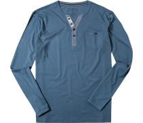 Herren Schlafanzug longsleeve Baumwoll-Mix rauchblau