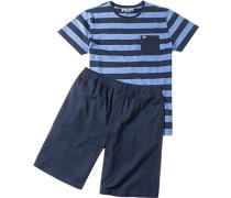 Herren Pyjama Baumwolle navy blau