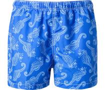 Herren Bade-Shorts Microfaser azurblau gemustert