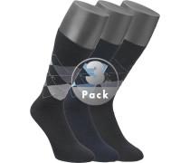Herren Socken Baumwoll-Mix grau-navy-schwarz gemustert