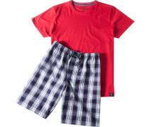 Herren Pyjama Baumwolle rot
