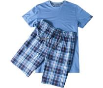 Herren Pyjama Baumwolle-Modal blau