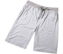 Herren Pyjama-Bermudas Baumwolle-Modal hellgrau meliert
