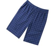 Herren Pyjama-Bermudas Baumwoll-Stretch navy-hellblau kariert