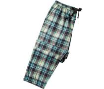 Herren Pyjama-Hose Baumwolle multicolor kariert grün